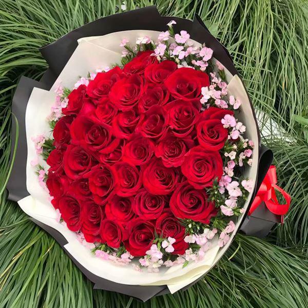 hoa hồng sinh nhật bó tròn